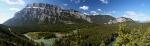 Süd-westlicher Blick von den Hoodos auf den Bow River und die Berglandschaft