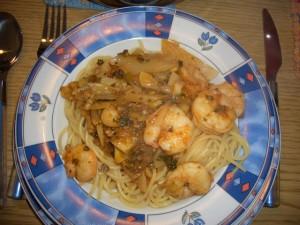 Fenchelspaghetti mit Riesengambas